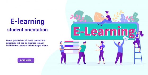 Modello web della pagina di destinazione per l'e-learning. orientamento degli studenti. lezione di apprendimento a distanza online.