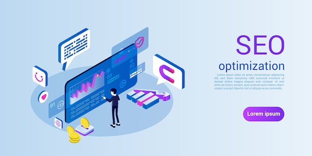 Modello web della pagina di destinazione per l'ottimizzazione seo o dei motori di ricerca