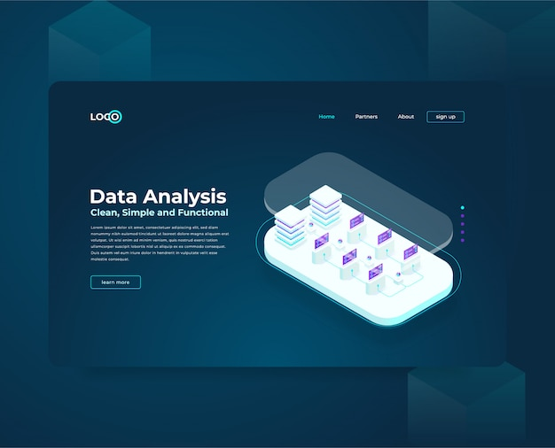 Modello web della pagina di destinazione per la composizione isometrica di cryptocurrency e blockchain, analisti e manager che lavorano all'avvio di crypto, analisti di dati
