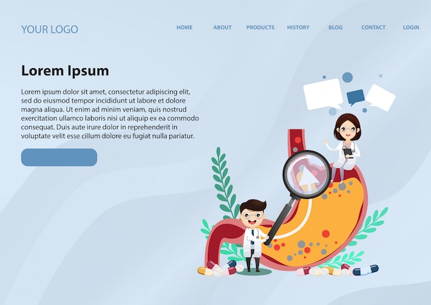 Modello web della pagina di destinazione per la malattia da reflusso gastroesofageo (gerd)