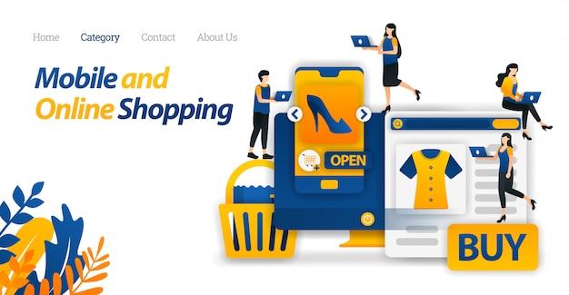 Modello web della pagina di destinazione per le esigenze e gli stili di vita di acquisto solo con i dispositivi mobili e lo shopping online o l'e-commerce.