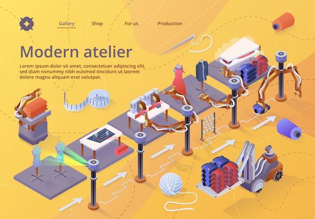 Modello web della pagina di destinazione per produttori di fibre, macchinari e attrezzature