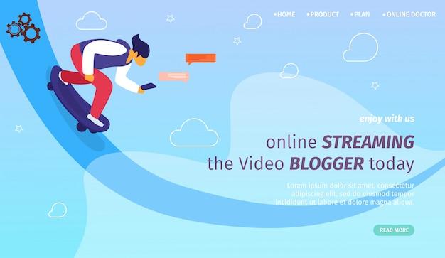 Modello web della pagina di destinazione per streaming online, vlog e youtube