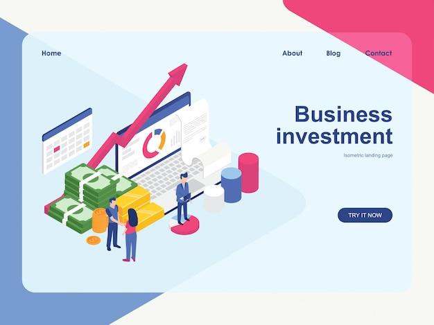Modello web della pagina di destinazione. progettazione isometrica piana moderna di concetto di investimento aziendale