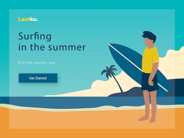 Modello web della pagina di destinazione. surf uomo su una spiaggia, illustrazione vettoriale