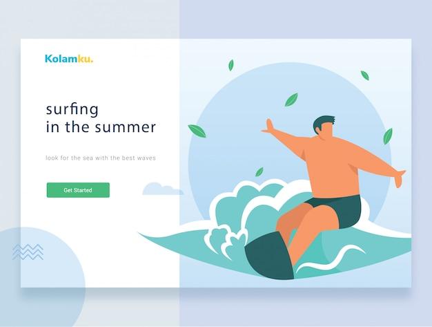 Modello web della pagina di destinazione. surfer cavalcando l'onda. illustrazione vettoriale