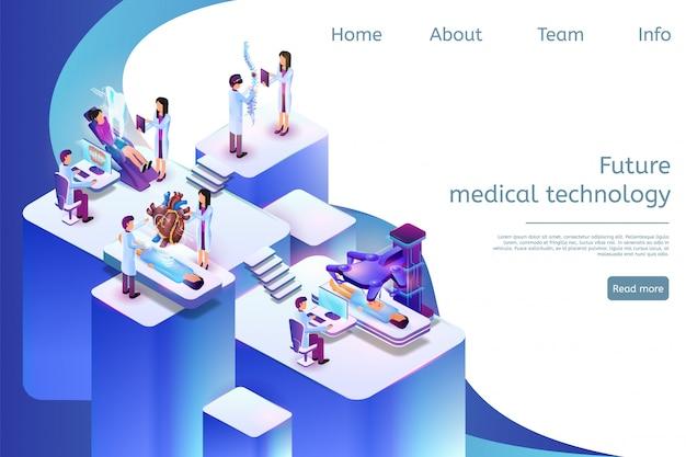 Modello web della pagina di destinazione tecnologia medica futura in 3d