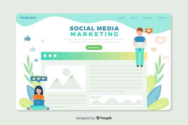 Modello web di landing page corporativa per agenzie di social media marketing