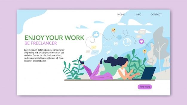 Modello web di motivazione pagina di destinazione che offre lavoro freelance