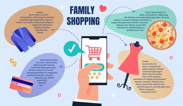 Modello web di ordinazione online e shopping familiare