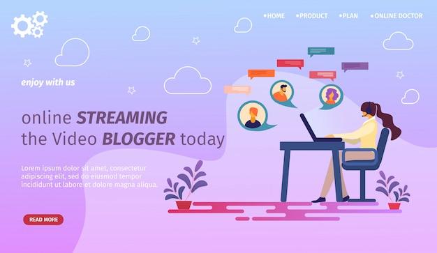 Modello web di pagina di destinazione con young woman blogger comunicazione a un laptop con follower in internet. blog, social media, blog.