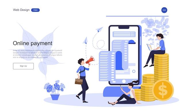 Modello web di pagina di destinazione concetto di business per operazioni bancarie online, transazioni finanziarie.