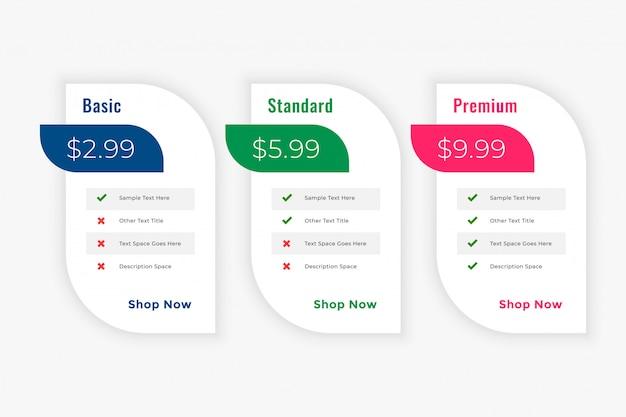 Modello web di piani di tabella prezzi di cleam