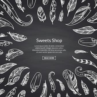 Modello web di piume di lavagna disegnata a mano
