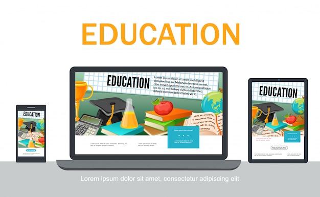Modello web di progettazione adattiva della scuola piana con il trofeo del calcolatore del globo dei libri della mela della provetta del cappuccio di graduazione sugli schermi mobili del computer portatile della compressa isolati