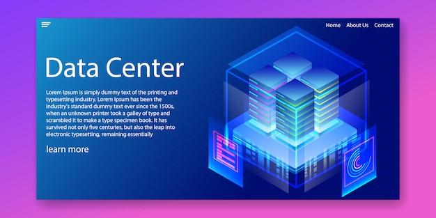 Modello web di soluzioni di hosting di data center aziendali