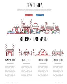 Modello web di viaggio india in stile lineare