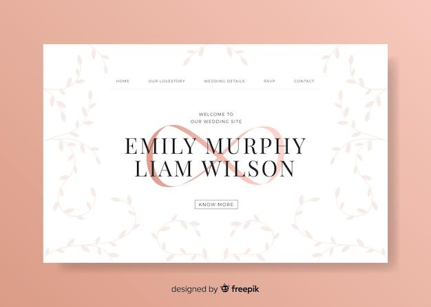 Modello web elegante della pagina di destinazione per la celebrazione dell'evento di nozze