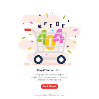 Modello web errore 404 con carrello della spesa in stile piatto