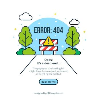 Modello web errore 404 con strada in stile piatto