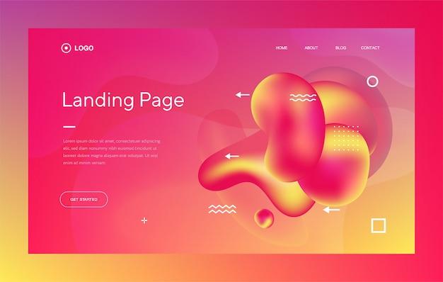 Modello web o landing page con design alla moda ed elementi fluidi