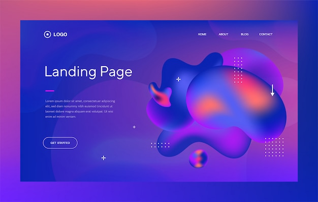 Modello web o landing page con design alla moda