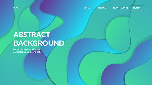 Modello web pagina di destinazione con design moderno astratto dinamico per siti web