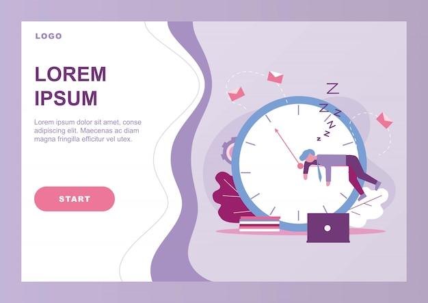 Modello web pagina di destinazione con procrastinare l'uomo d'affari