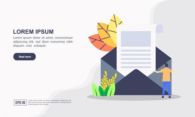 Modello web pagina di destinazione di notizie di media e il concetto di giornale