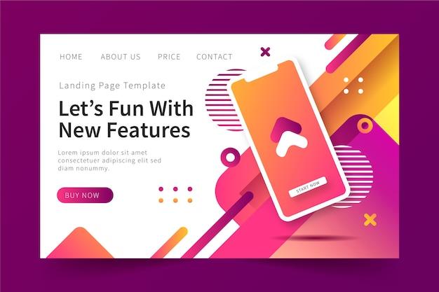 Modello web per landing page aziendale con dispositivo mobile