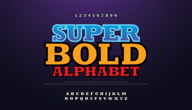 Modern bold font 3d with shadow alphabet