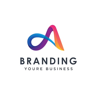 Modern colorful letter a logo design template