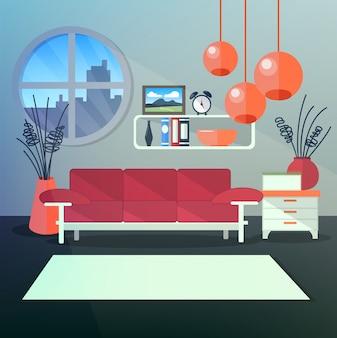 Modern interior of living room con mensole e eleganti lampadari arancioni