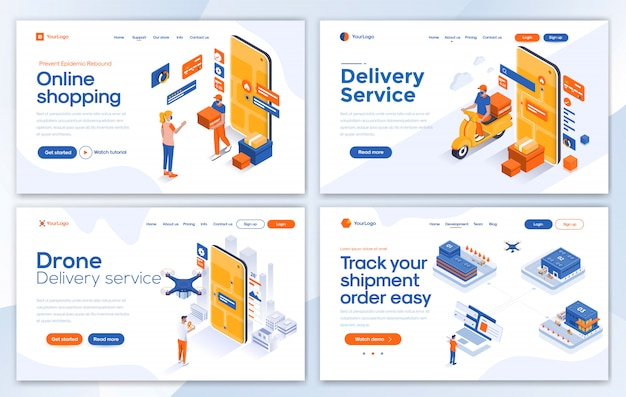 Modern of landing page template - shopping set