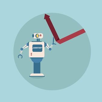 Modern robot holding financial arrow up concetto di protezione delle finanze tecnologia di meccanismo di intelligenza artificiale futuristica