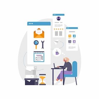Moderna app mobile per affari e lavoro. illustrazione di donna seduta alla scrivania con il computer portatile