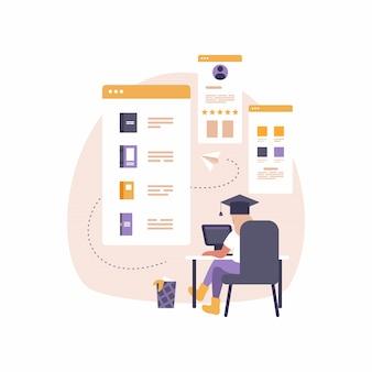 Moderna app mobile per l'istruzione e l'e-learning. illustrazione di donna seduta alla scrivania con il computer portatile