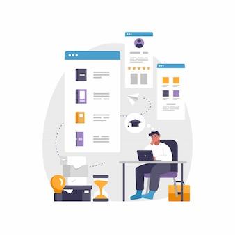 Moderna app mobile per l'istruzione e l'e-learning. illustrazione di uomo seduto alla scrivania con il computer portatile
