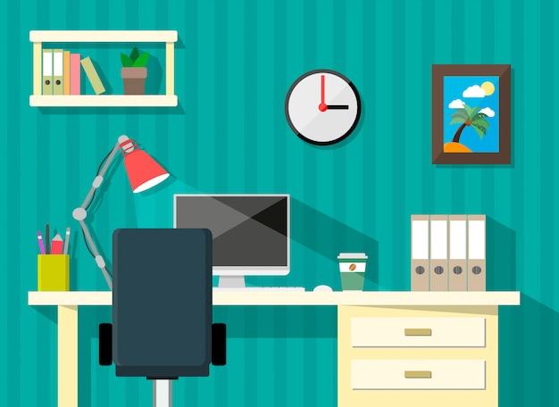Moderna area di lavoro domestica o aziendale
