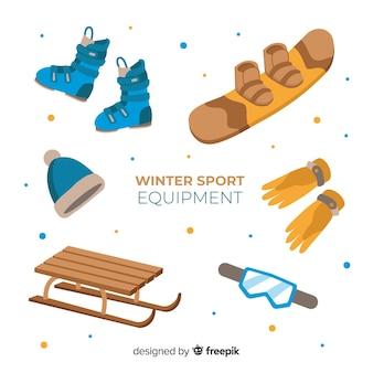 Moderna attrezzatura sportiva invernale con design piatto