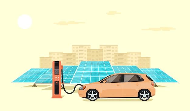 Moderna auto elettrica in carica presso la stazione di ricarica di fronte ai pannelli solari, grande skyline della città sullo sfondo, illustrazione di stile