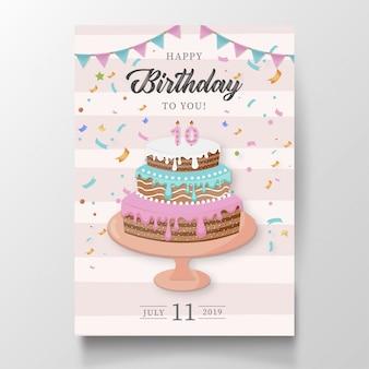 Moderna carta di buon compleanno con torta