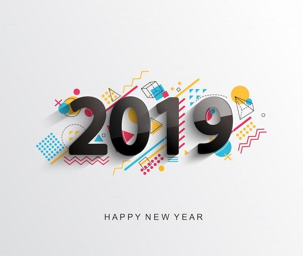 Moderna carta di design nuovo anno 2019 creativo