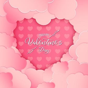 Moderna carta di san valentino felice con carta rosa tagliata nuvole
