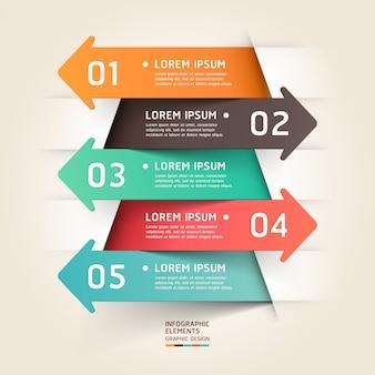 Moderna carta tagliata freccia infografica.
