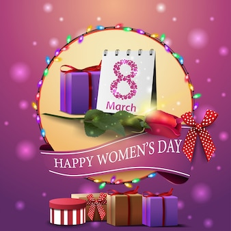 Moderna cartolina di auguri rosa per la festa della donna