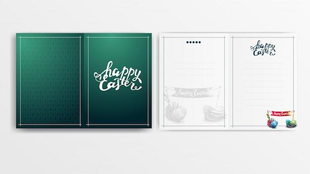 Moderna cartolina verde per pasqua pronta per la stampa