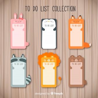Moderna collezione di liste da fare con animali adorabili