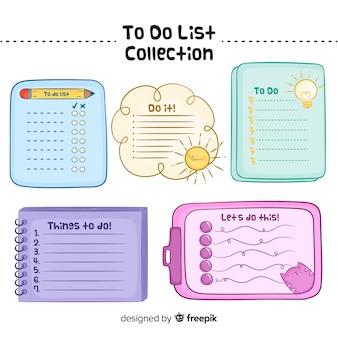 Moderna collezione di liste da fare con uno stile adorabile