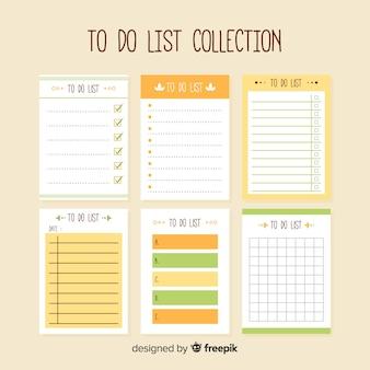 Moderna collezione di liste da fare con uno stile colorato